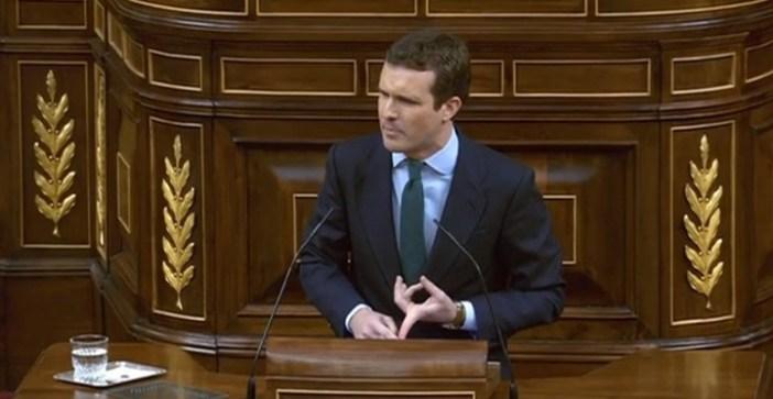 Pablo Casado, del opositor Partido Popular, en el debate sobre los Presupuestos en el Congreso (DPA).