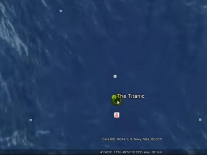 Google Earth. La localización del Titanic. Foto/ Web