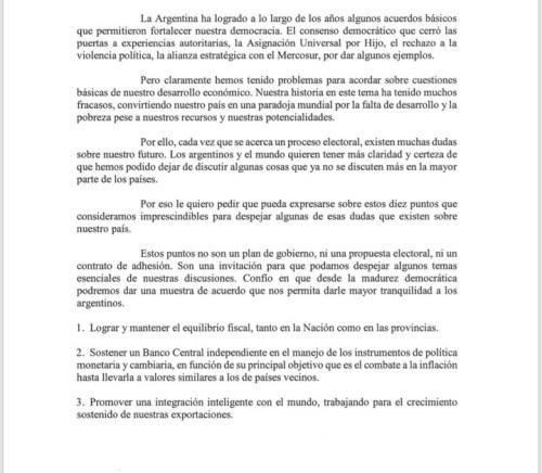 La invitación que envió este lunes Mauricio Macri a los dirigentes de la oposición.