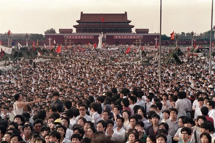 The massive demonstration on June 2, 1989, in Tiananmen.  Photo: AFP