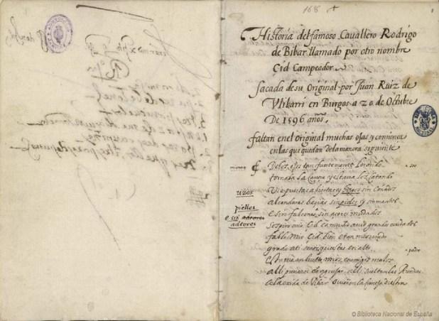 """Historia del famoso """"cavallero"""" (SIC) . Páginas del códice del 'Cantar de Mío Cid', del siglo XIV. / BIBLIOTECA NACIONAL DE ESPAÑA"""