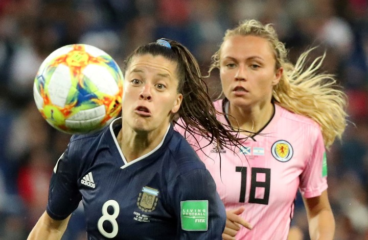 Ruth Bravo in the match in which Argentina lost to Scotland 1-0, on June 19, 2019 Photo: REUTERS / Lucy Nicholson