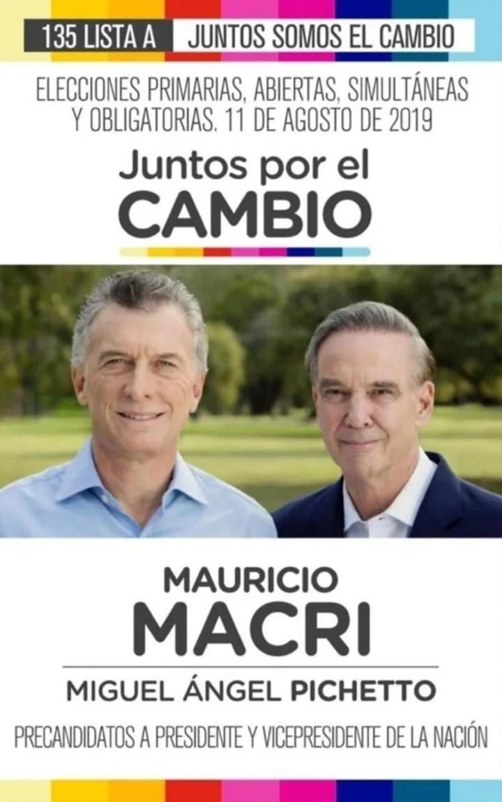 Elecciones 2019. La boleta de Juntos por el Cambio, con Mauricio Macri y Miguel Ángel Pichetto.