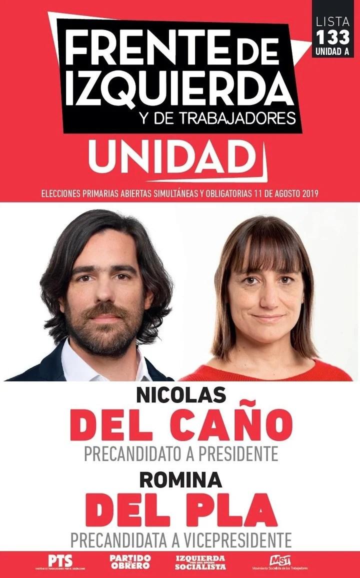 Elecciones 2019. La boleta del Frente de Izquierda, con los candidatos Nicolás del Caño y Romina del Plá.