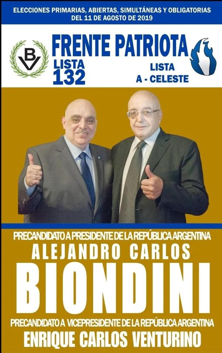 Elecciones 2019. La boleta del Frente Patriota con los candidatos Alejandro Biondini y Enrique Venturino.