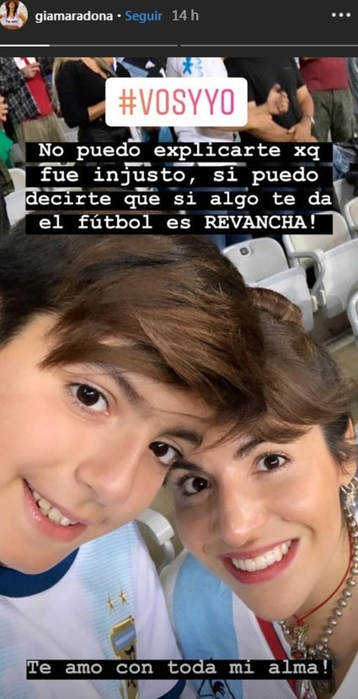 La publicación de Gianinna Maradona en Instagram.