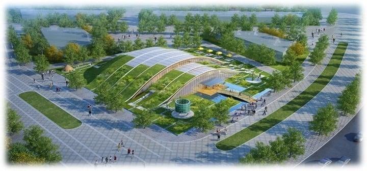 Cárdenas Laverde. Dibujo del pabellón que realizó Cárdenas para la Expo de Horticultura que se realizó en Beijing en abril pasado.