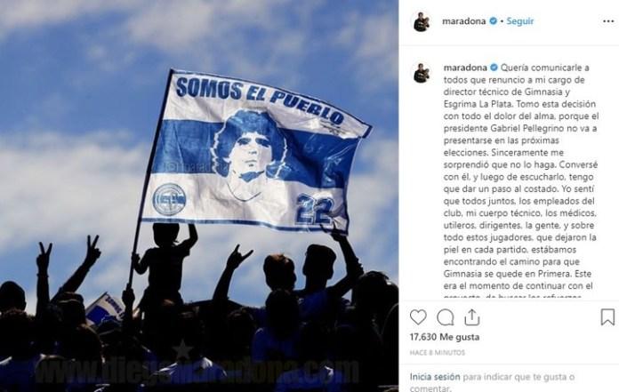 Las palabras de Maradona en Instagram.