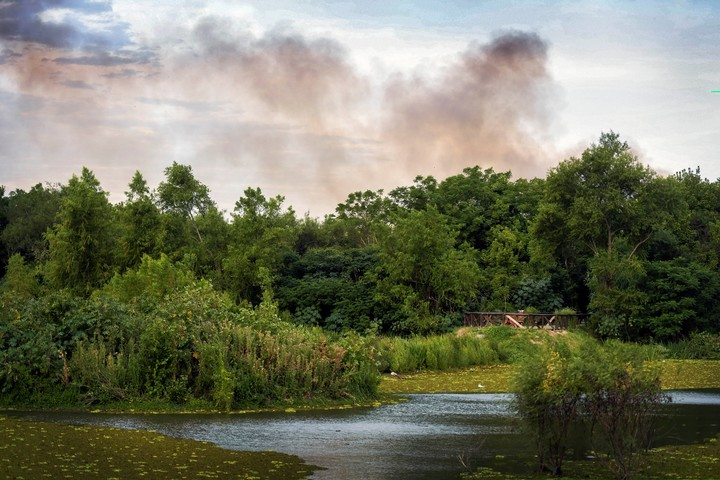 Smoke floats over the Costanera Sur Ecological Reserve, during a fire in January 2020. Photo Télam