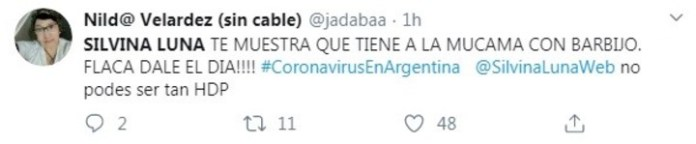 One of the tweets against Silvina Luna.