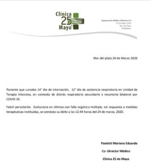 El comunicado del Hospital 25 de Mayo, donde murió hombre de coronavirus.