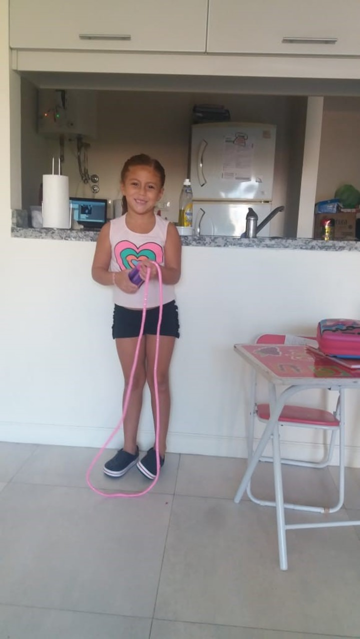 Martina is six years old and likes to exercise at home.