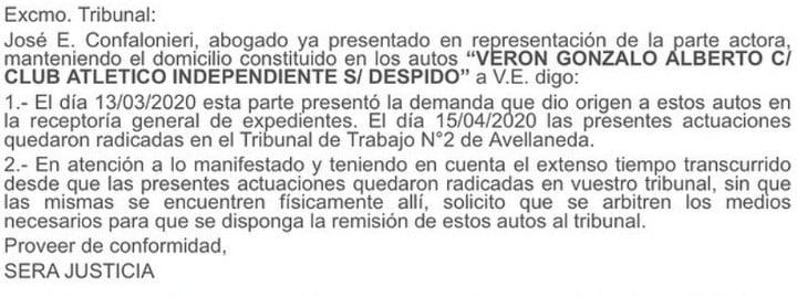 Demanda de Gonzalo Verón contra Independiente. Foto: @matimartinez82