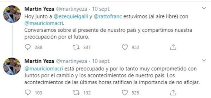 El tuit de Martín Yeza. Captura