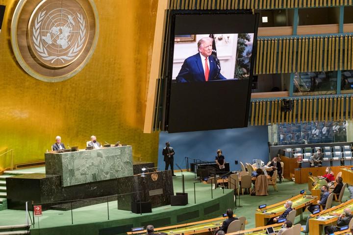 Donald Trump speak at UNO in 2020. Photo: EFE