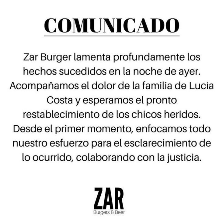 El comunicado del bar de San Miguel donde murió Lucía. Foto captura de Instagram.