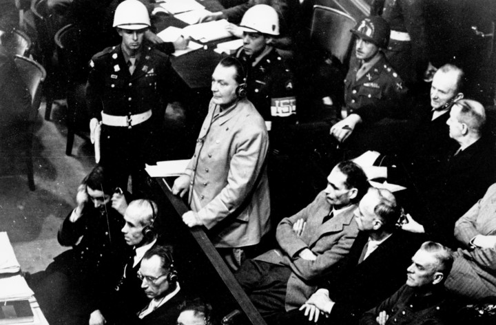 Hermann Goering (standing) during the Nuremberg trials.  Photo: AP