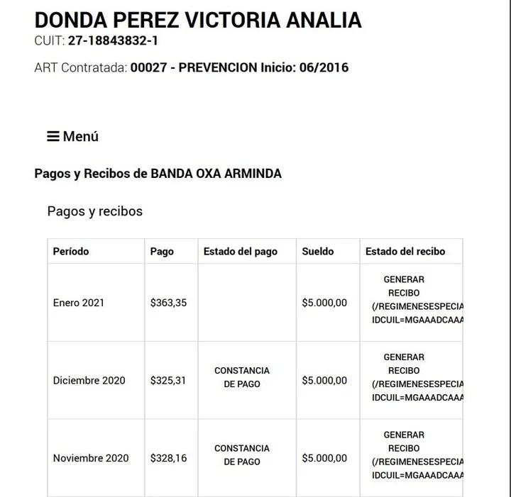 En diciembre de 2020 y enero de 2021 la empleada de Victoria Donda seguía cobrando $ 5.000 mensuales.