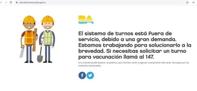 El sitio de la Ciudad de Buenos Aires para sacar turno para la vacunación contra el Covid 19 de personas mayores colapsó ni bien arrancó a las 14.