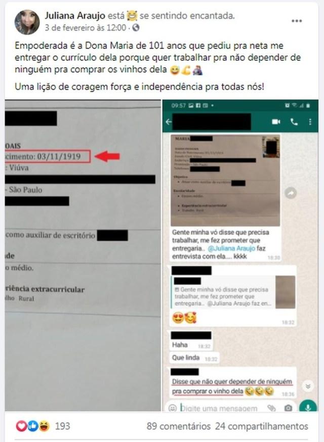La publicación de Juliana Araujo fue en febrero y volvió a viralizarse ahora.