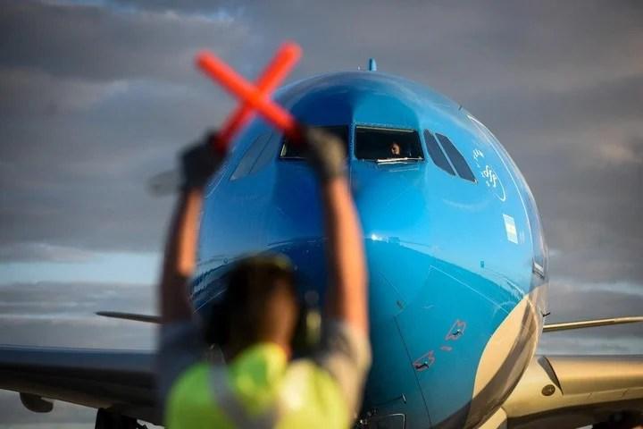 Avión de Aerolíneas Argentinas. Foto: gentileza Presidencia.