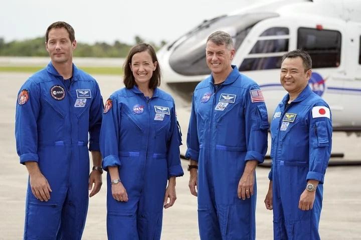 Thomas Pesquet, (left), with the other crew :, Megan McArthur, Shane Kimbrough and Akihiko Hoshide.  AP Photo