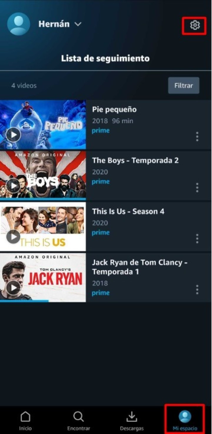 The Amazon Prime app for Android.