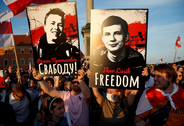 A protest calling for the release of Protasevich in Poland.  Photo: REUTERS