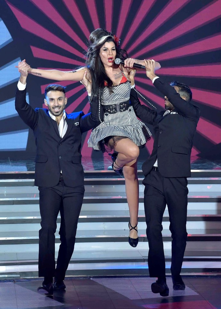 Charlotte Caniggia impersonated Amy Winehouse at The ShowMatch Academy but did not convince the jury.  Photo LaFlia / Julio Ruiz.