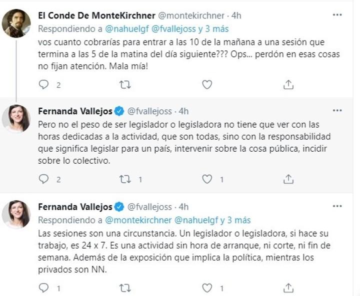 The tweets of Fernanda Vallejos in defense of the increase in political salaries.