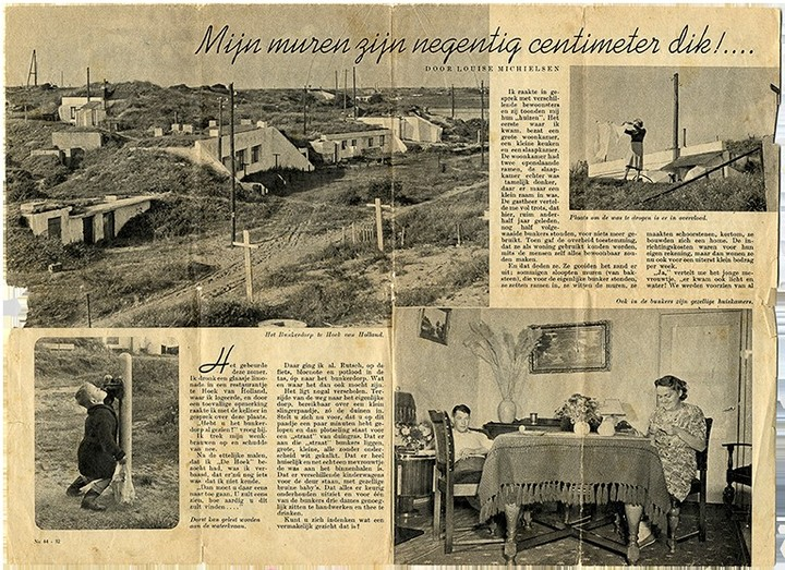 A magazine clipping that tells how neighbors used the bunkers to live.  Photo: cocondo.nl
