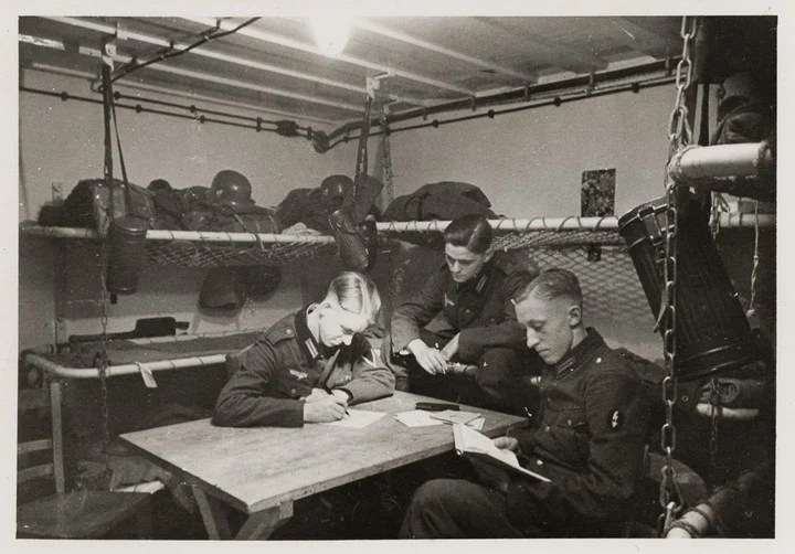 An image of German soldiers living in bunkers during WWII.