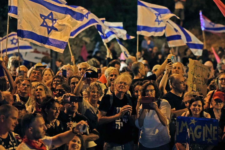 Celebrations in Israel for the new government.  AFP photo