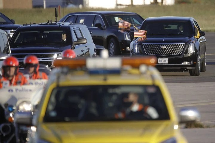 Biden's presidential convoy advances in Brussels.  Photo: AFP