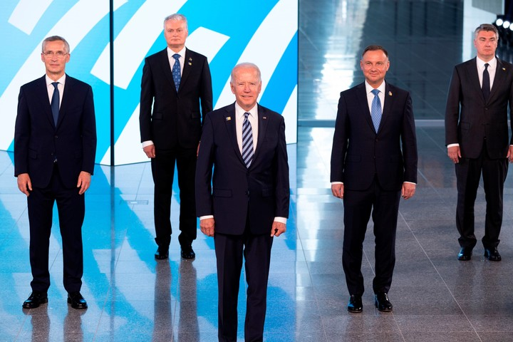 The family photo from the NATO summit in Brussels.  Photo: AP