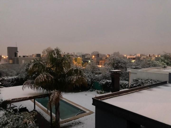 The snowfall reached the Cordoba city of Villa Allende.