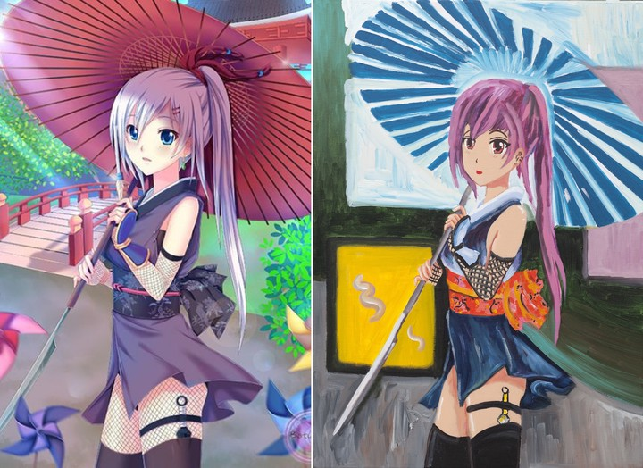 The reference otaku image next to the work of Pecci Carou.