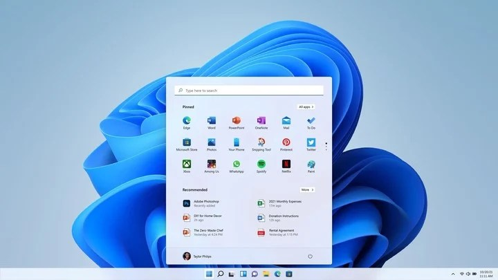 The start menu and the icons of the most used applications of your new Windows 11 operating system. Photo: EFE.
