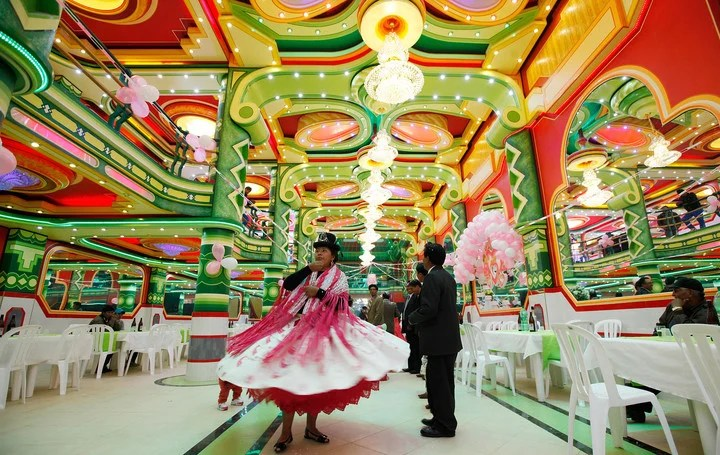 """The inside of a """"cholet"""" used for parties in El Alto.  (AP)"""