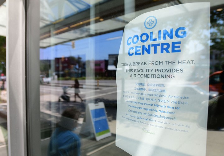 A community center with an air conditioning sign in Vancouver, Canada.  Photo: AFP