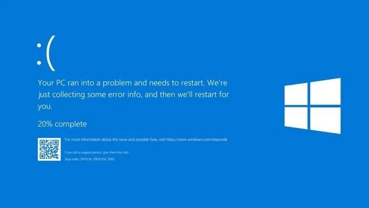 Blue screen: a historical Windows error.  Photo Microsoft