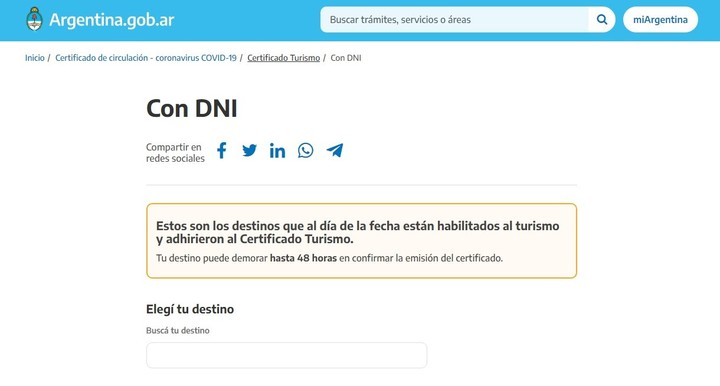 With DNI to obtain the Tourism Certificate.  Capture