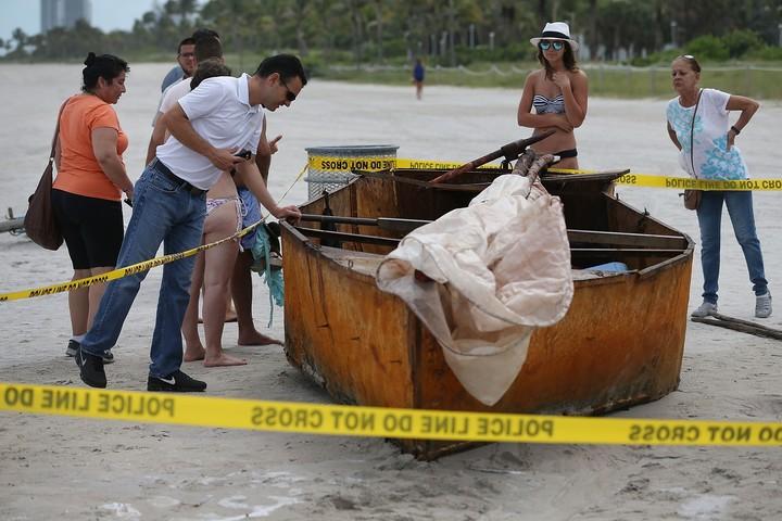 A raft found in Miami Beach in 2015. AFP Photo