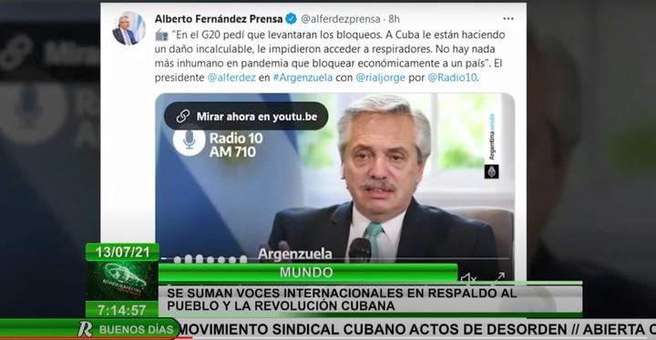"Cuban regime television interprets Alberto Fernández's support for ""the revolution"".  Capura Canal Caribe"