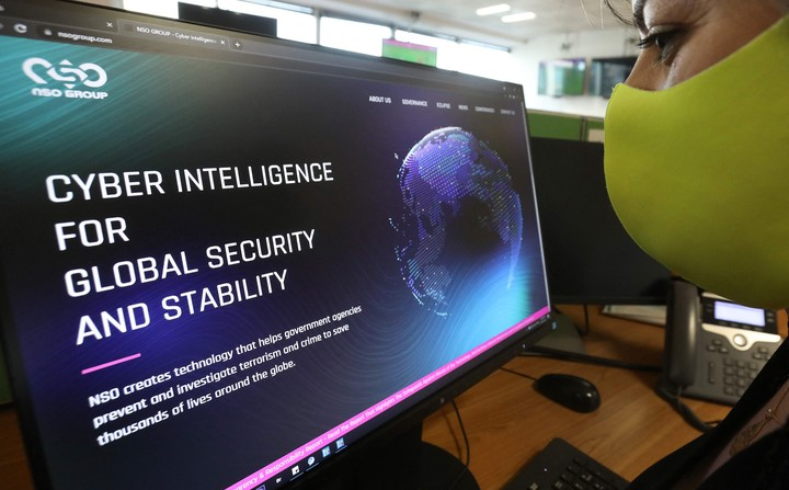 The website of the Pegasus cyber espionage system, made in Israel.  Photo: AFP
