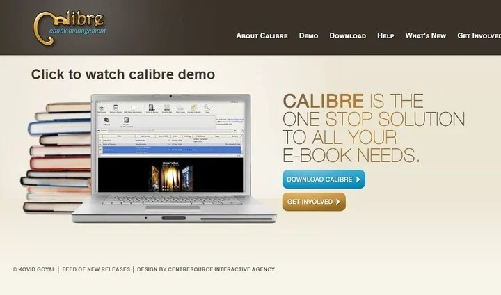 Caliber, the program to transfer books to the ereader.  Photo Gauge