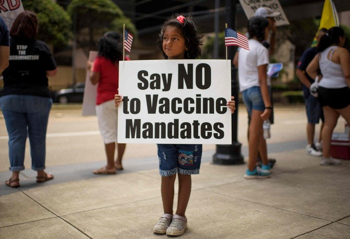 A protest against the mandatory vaccination against Covid in (Houston, Texas, days ago. Photo: AFP