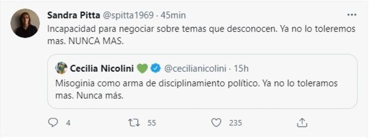 Pitta responded to Presidential Advisor Cecilia Nicolini.