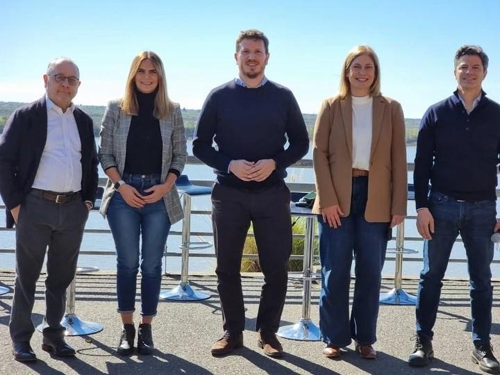 Amalia Granata, Federico Angelini, Jorge Faurie, Luciano Laspina and Gisela Scaglia, candidates from Santa Fe Nos Une, for the PASO de JxC.