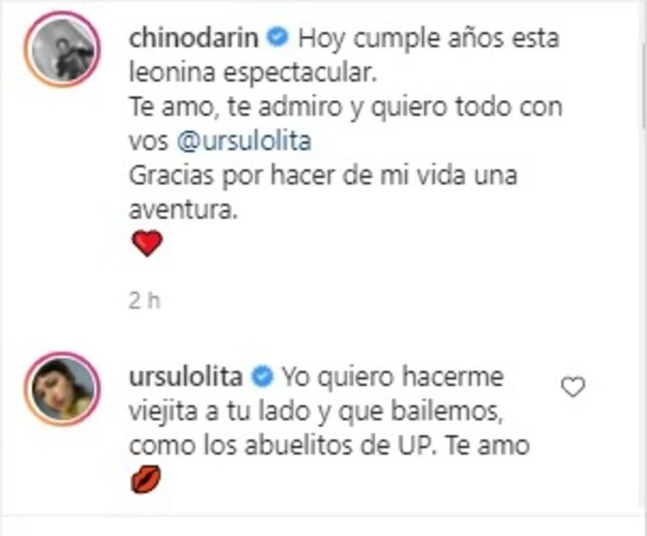 Úrsula Corberó and Chino Darín excited their Instagram followers.